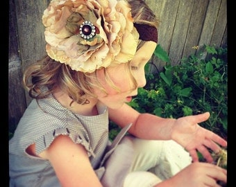 Vintage inspired tan flower headband,tan peony headband, large flower headband, beige baby headband,flower girl headband