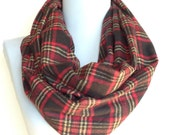 Plaid Infinity Scarf in Black, Red and Beige Flannel, Circle Scarf, Eternity Scarf, Loop Scarf, Winter Scarf