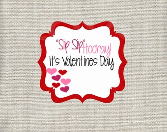 Sip Sip Hooray Silly Straw Valentine Printable - Instant Download - Valentine Cards