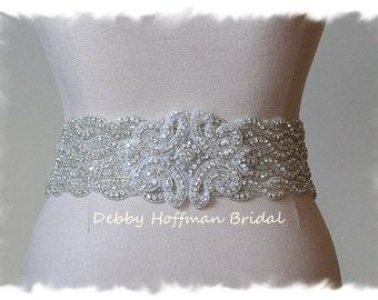 Beaded Rhinestone Crystal Bridal Belt, Wedding Dress Sash, Rhinestone Wedding Sash, Jeweled Belt, No. 1126S4-18-3050 , Wedding Belts, Sashes
