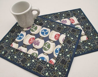 Quilted Mug Rugs - Japanese Lanterns - Set of 2