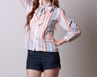 Small / Medium - 70s Blouse - Vintage Striped Blouse - Blouse with Ascot - Tan and Blue Blouse