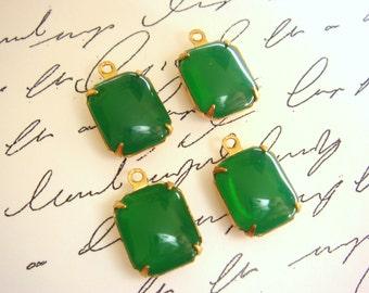 Vintage Jade Green Glass Stone Brass Setting - Jewelry Supplies