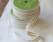 """30 Yard Spool of Ribbon - French Stripe NATURAL & CREAM - Natural Cotton, 5/8"""" wide"""