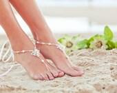 Foot jewelry, beach wedding sandals, bridal beach shoes, footless sandles, destination wedding, Bohemian wedding. JESSICA Cream Medium
