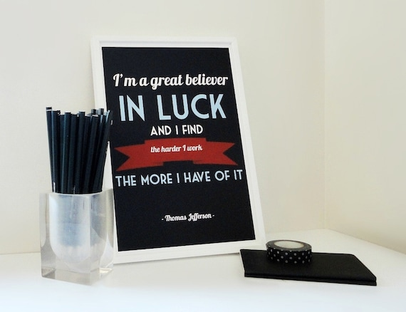Typography Print Believer in Luck Archival Matte A4 Motivational Print Quote