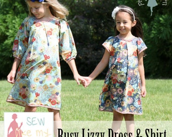 Busy Lizzy PDF Dress & Shirt pattern 12m-8, girls dress pattern, woven dress pattern, shirt pattern