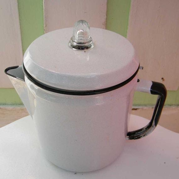 Java Perk Coffee Maker : Vintage Coffee Pot Percolator White Enamelware on by GloryBDesign