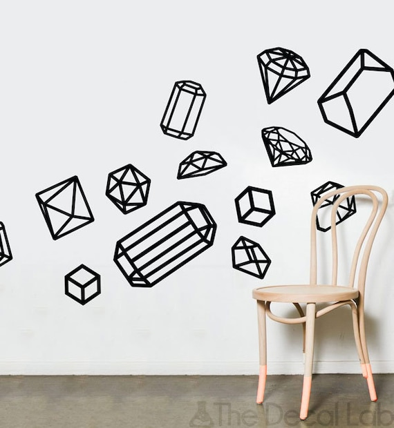 Isometric Wall Decals Geometric Shapes Wall Design Customize