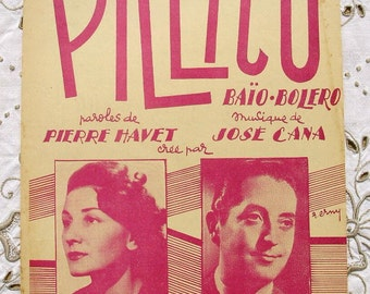 Vintage French 1950's  Song / Sheet Music - Pillico