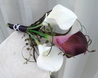 Bridal bouquet real touch plum white calla lily Bridesmaid bouquet wedding flowers