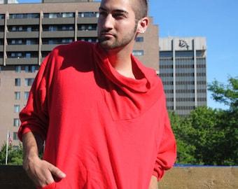 Red Swoop Neck Sweatshirt