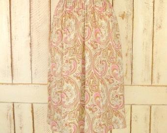 Vintage pink paisley skirt/paisley midi skirt/pink paisley  aline skirt