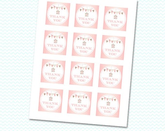 """2"""" Pink stripes with bird cage and bunting banners thank you favor tags - Digital Download"""