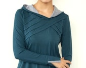 hoodie shirt - turquoise - lamellar piping - polka dots