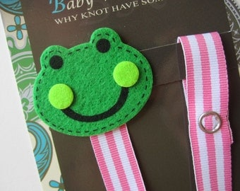 Girl Frog Pacifier Clip, Green Frog Pacifier Clip, Pacifier Holder, pcfrog03