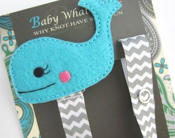 Blue Whale Pacifier Clip, Boy Whale Pacifier Clip, Ocean Holder, pcwhale01