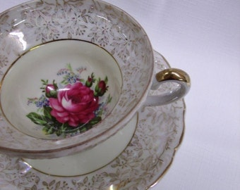 Vintage Footed Cup & Saucer Set - pink  rose with gold trim and patterned edges