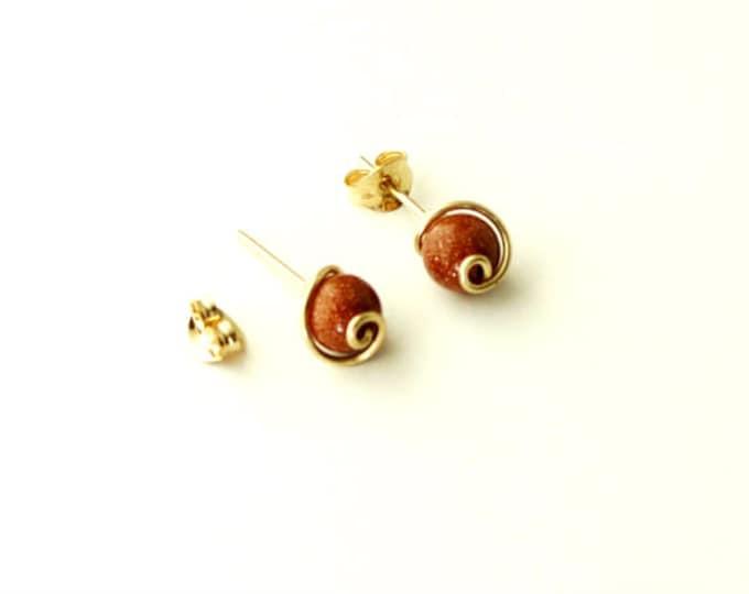 Gold Post Earrings, Gold Stud Earrings, Goldstone Earrings, Delicate Earrings, Small Earrings, Handmade Gift