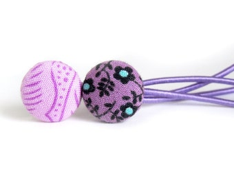 Purple hair ties - fabric button ponytail holders - floral hair accessories - flower black blue