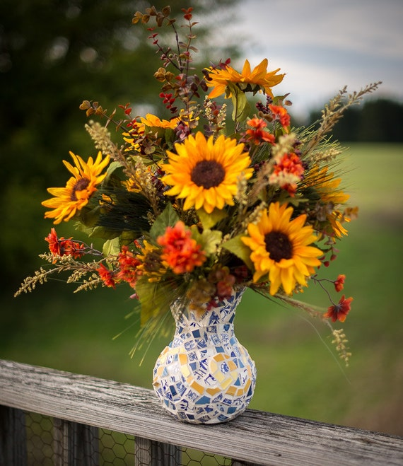Fall faux sunflower arrangement in whimsical french blue