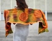 Christmas gift Nuno Felted Scarf OOAK. Shoulder wrap textured handpainted silk wool scarf ohtteam