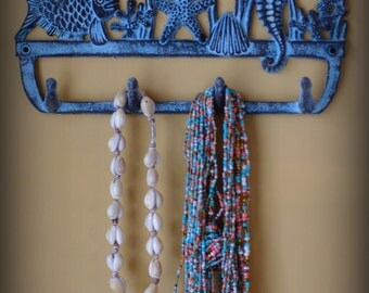 Cast Iron Ocean Blue Coral Reef Wall Hook - Fish, Coral, Sea Horse, and Starfish - Jewelry Holder - Key Hook - Towel Hook