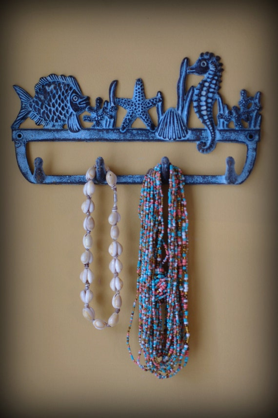 Cast Iron Ocean Blue Coral Reef Wall Hook Fish Coral Sea