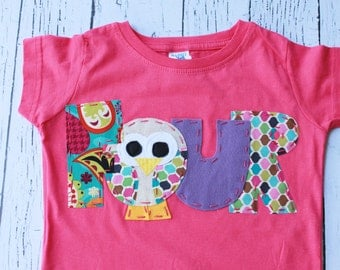 Owl birthday shirt, four, 4,  t shirt, girl pink,