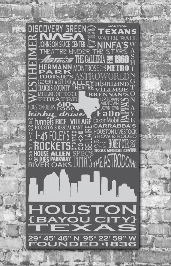 Houston Destinations Typography Art