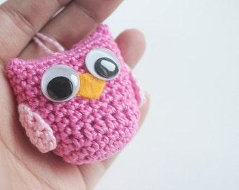 Mini plush crochet owl Pink Crochet Owl