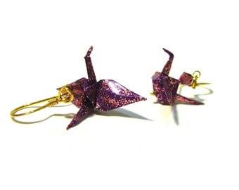 Peace Crane Earrings Purple Sparkle Cranes on Gold Vermeil Earwires