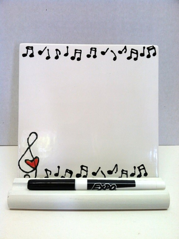 Dry Erase Tile Music Notes And Hearts With Wooden Stand