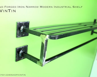 Hand Forged Iron Narrow Modern Industrial Train Rack by VinTin