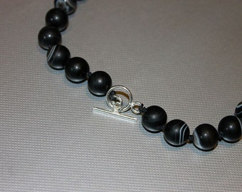 Hand Knotted Black Agate Necklace