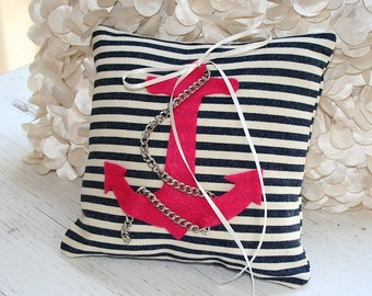 Beach Wedding, Ring Pillow, Nautical Wedding, Nautical Theme, Sailor Stripes, Ring Bearer Pillow, Ring Boy, Summer Wedding, Sail Away