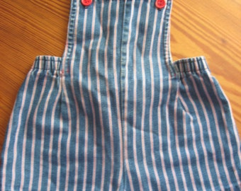 Buster Brown Striped Cotton Bib Overall Shorts 2T