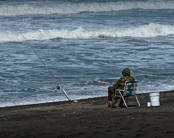 Surf Fisherman on Rialto Beach in Olympic National Park in Washington State No.0561 - A Seascape Photograph