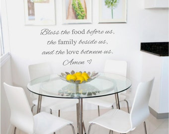 Kitchen Wall Decal - Bless the food - Bless the food before us - Bless the food before us decal - kitchen signs - kitchen wall decor - decal