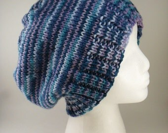 Hand Knit Extra Slouchy Beanie in Luxury - Multicolour Teal Purple Blue Green Turquoise Lavender