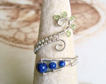 Lapis Wire Ring, Adjustable Peridot Ring, Blue Green Gemstone, Sterling Silver Wire Wrapped Ring, Swirl Ring, Adjustable Wire Ring