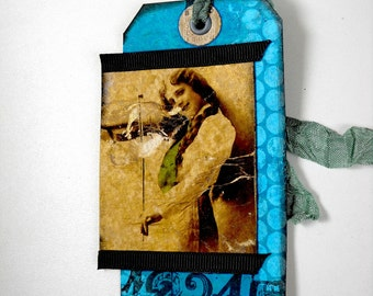 Shipping Tag Art, Handmade, Altered Woman with Fiddle Tag, Mixed Media Tag