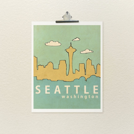 Affordable Fine Art Print // Seattle No. 1 // Travel City Skyline Architecture Illustration and Typography Print