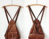 Soft Honey Brown Leather Saddle Backpack