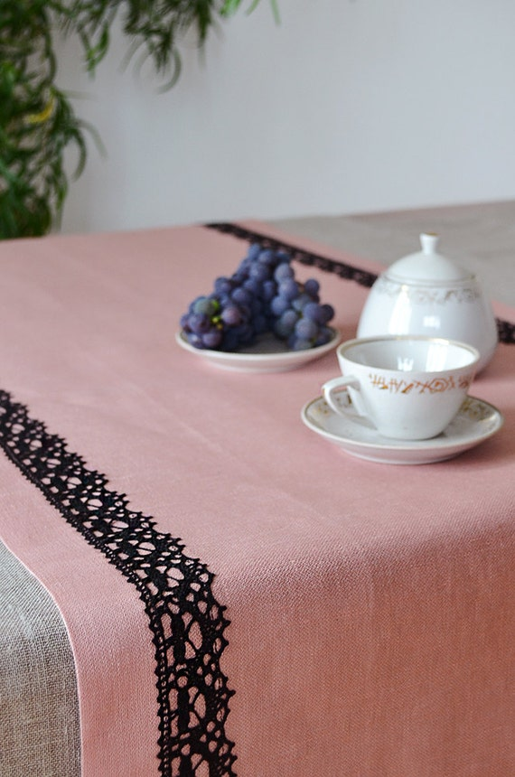 SALE 23% Table Runner Rose Pink Runner with Black Linen Lace