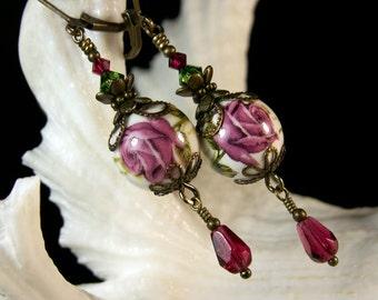 Dark Pink Rose Victorian Earrings, Pink Rosebud Flower Edwardian Bridal Dangle Drops, Steampunk Antiqued Bronze, Titanic Temptations Jewelry