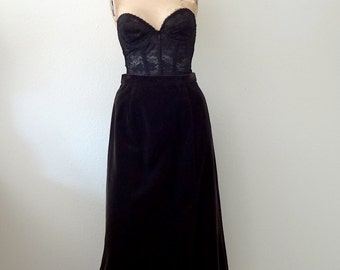 1960s-70s Velvet Skirt / espresso brown a line / vintage party attire size S
