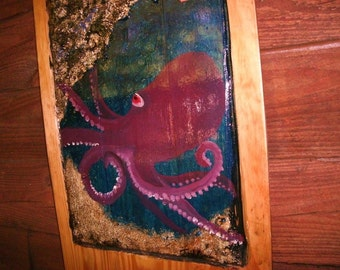 """Colorful Octopus Reef Scene Painting  55""""  reclaimed wood tropical beach home decor original Todd Lynd recycled wood wall art rustic"""