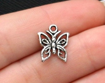 BULK 50 Small Butterfly Charms Antique  Silver Tone - SC1881