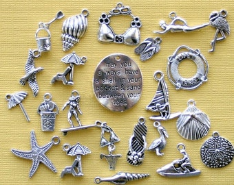 Deluxe Beach Charm Collection Antique  Silver Tone 23 Charms - COL260